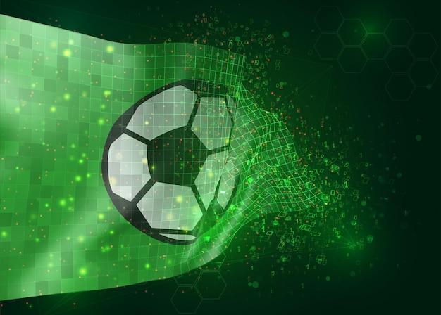 Pallone da calcio su bandiera vettoriale 3d su sfondo verde con poligoni e numeri di dati