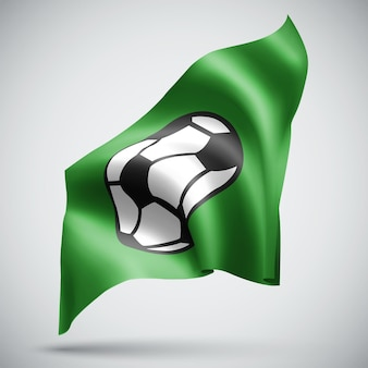 Pallone da calcio, bandiera 3d vettoriale isolato su sfondo bianco