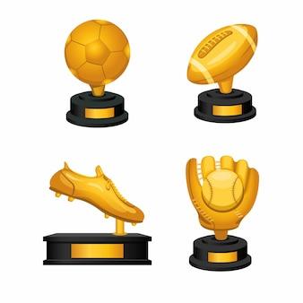 Insieme dell'icona di thropy dorato del premio di sport di simbolo di football americano e di baseball di calcio