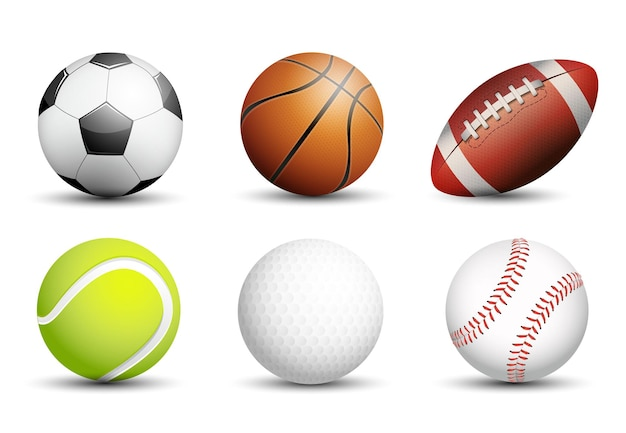 Calcio, basket, football americano, tennis, golf e baseball come attività ricreative salutari e divertenti per il tempo libero per il gioco di squadra e individuale per il design vettoriale della salute.