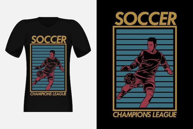 Design vintage per t-shirt con sagoma di champions league di calcio