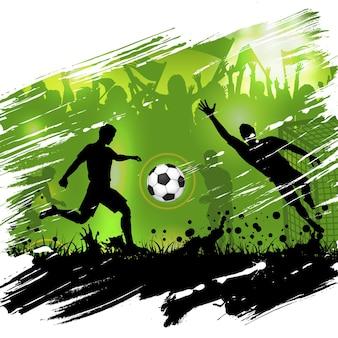 Manifesto del campionato di calcio con giocatori di calcio di sagome, pallone da calcio e fan di sagome, sfondo grunge, illustrazione vettoriale