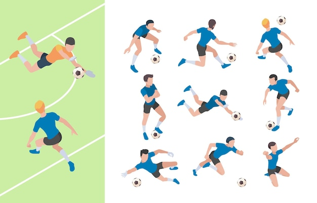 Personaggi di calcio. giocatori di calcio di persone di atletica leggera che sprint sul campo persone 3d.