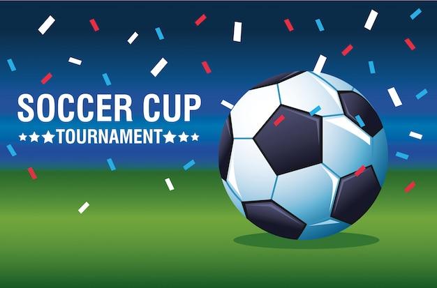 Manifesto di torneo della tazza di calcio con progettazione dell'illustrazione di vettore dei coriandoli e del pallone