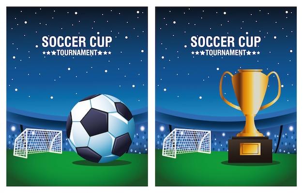 Manifesto di torneo della tazza di calcio con il pallone e trofeo nella progettazione dell'illustrazione di vettore del campo