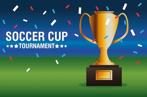 Manifesto di torneo della tazza di calcio con il trofeo nella progettazione dell'illustrazione di vettore del campo