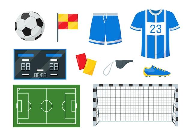 Set di attrezzature da calcio set di elementi e accessori isolato su bianco