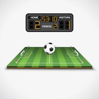 Campo da calcio, palla e tabellone segnapunti