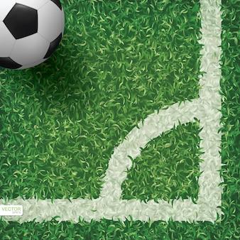 Pallone da calcio nell'area d'angolo del campo di calcio con fondo di struttura del modello di erba verde. illustrazione vettoriale.