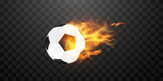 Soccer football ball in fiamme