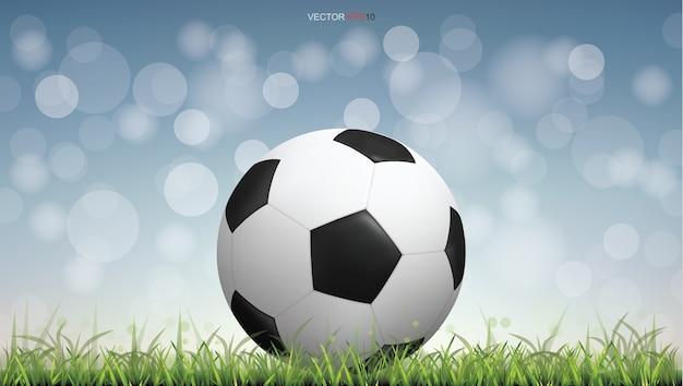 Pallone da calcio calcio sul campo di erba verde con luce sfocata sullo sfondo del bokeh