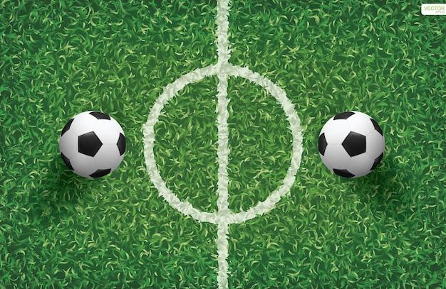 Pallone da calcio su erba verde del campo di calcio con area della linea centrale. illustrazione vettoriale.