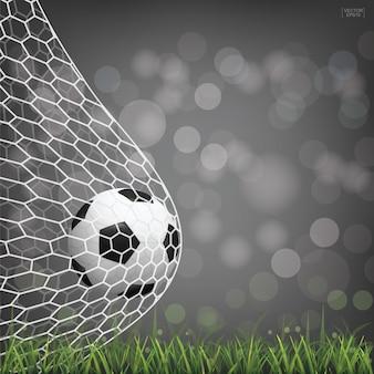 Sfera di calcio di calcio in rete con sfondo sfocato luce bokeh.