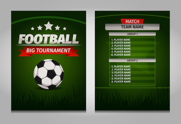 Modello della tabella del tabellone segnapunti finale dei campioni di calcio di calcio