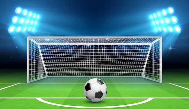 Fondo di campionato di calcio di calcio con la palla e gli obiettivi di sport.