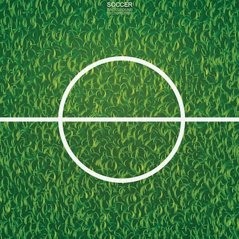 Fondo del campo di calcio di calcio con l'area della linea centrale. illustrazione vettoriale.