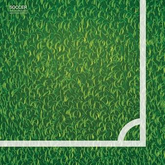 Fondo del campo di calcio di calcio con l'area della linea d'angolo. illustrazione vettoriale.