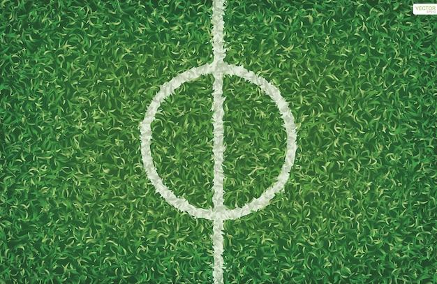 Modello e struttura del campo di calcio di calcio per lo sfondo con la linea centrale. illustrazione vettoriale.