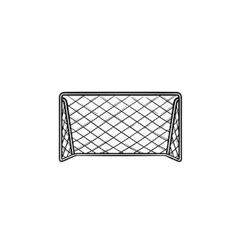 Icona di doodle di contorno disegnato a mano di obiettivo di calcio calcio. attrezzatura del gioco di calcio, concetto dei cancelli di sport di squadra illustrazione di schizzo vettoriale per stampa, web, mobile e infografica su sfondo bianco.