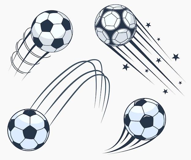 Calcio calcio in movimento elementi swoosh, palla con tracce di movimento, segno di sport dinamico, design di emblemi sportivi.