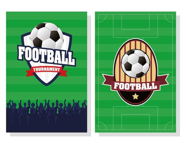 Poster di sport calcio calcio con scudi