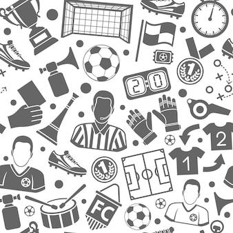 Modello senza cuciture di sport di calcio o calcio con set di icone piatte per volantini, poster, siti web come arbitro, palla e trofeo. illustrazione vettoriale isolato