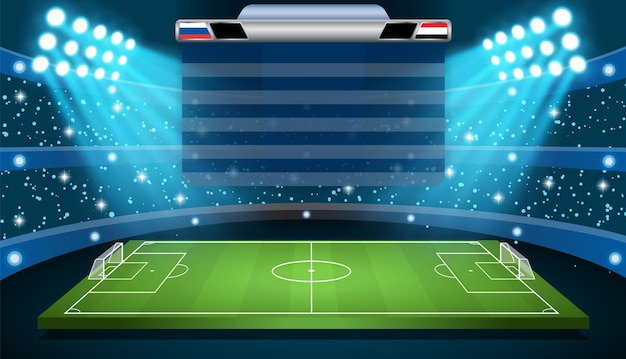 Riflettori e tabellone segnapunti dello stadio di calcio di calcio