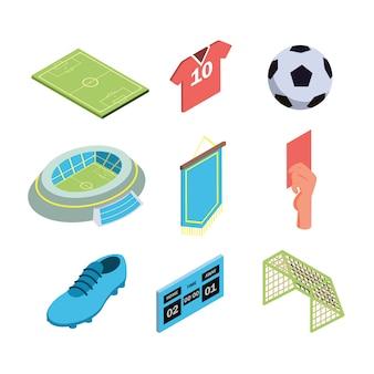 Insieme di raccolta dell'attrezzatura sportiva del gioco di calcio