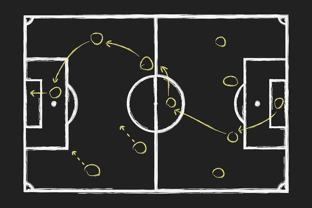 Strategia di gioco di calcio disegno a mano di gesso con piano tattico di calcio sulla lavagna