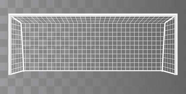 Obiettivo di calcio, palo di calcio con rete su uno sfondo trasparente.