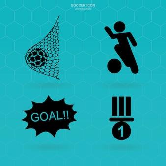 Insieme dell'icona di calcio. segno e simbolo astratti di calcio. illustrazione vettoriale.