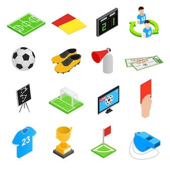 Icone isometriche 3d di calcio messe