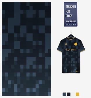 Disegno del modello del tessuto della maglia da calcio modello astratto su sfondo nero