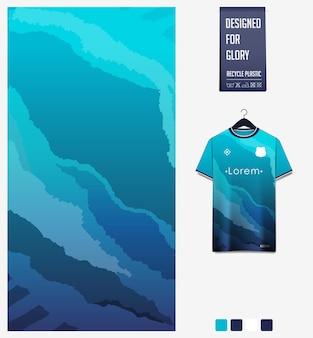 Disegno del modello del tessuto della maglia da calcio modello astratto su sfondo blu