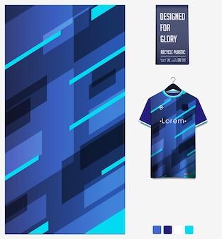 Disegno del modello del tessuto della maglia da calcio motivo geometrico su sfondo blu