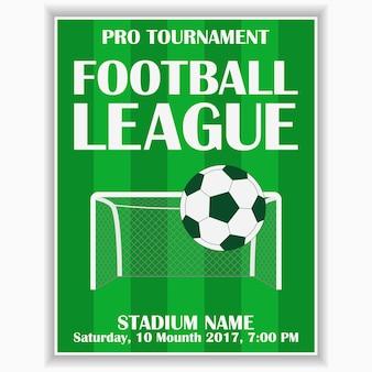 Poster della lega di calcio modello di progettazione per la carta di invito allo sport di calcio sul gioco