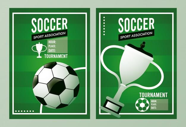 Manifesto di sport della lega di calcio con la tazza dell'aerostato e del trofeo