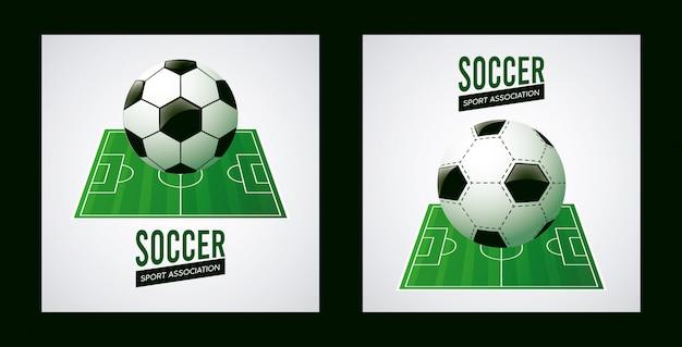 Manifesto di sport della lega di calcio con palloncini e campo