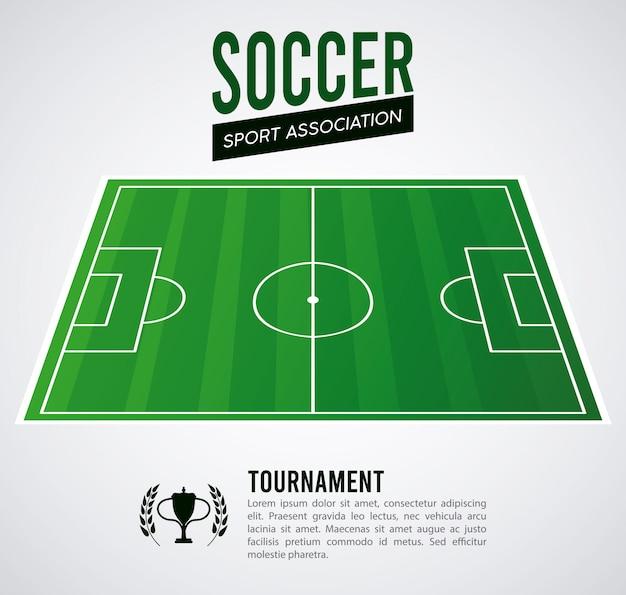 Manifesto di sport di campionato di calcio con campo di calcio