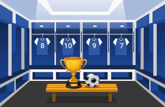 Spogliatoio di calcio con la thropy e l'illustrazione della scena del club della squadra sportiva vincente della palla