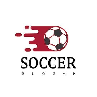 Logo del calcio o segno del club di calcio, logo del calcio con simbolo in rapido movimento
