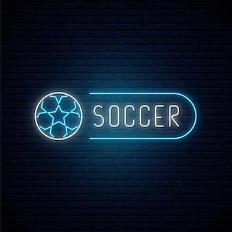 Insegna al neon di calcio Vettore Premium