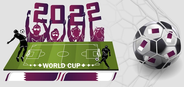Calciatore sullo sfondo dello stadio. lettering calcio. giocatore di football in campionato. illustrazione vettoriale in stile piano isolato su priorità bassa bianca.