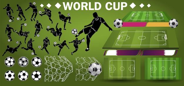 Calciatore sullo sfondo dello stadio. lettering calcio. mondiali di calcio 2022 con pallone da calcio realistico. poster sportivo, banner, volantino dal design moderno.