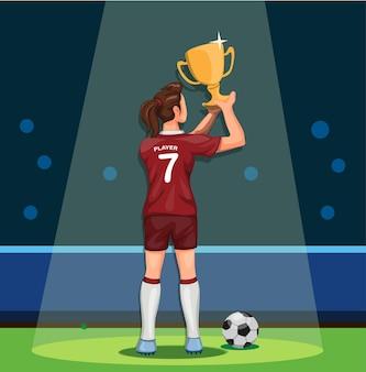 Celebrazione vincente del campione del trofeo della holding della femmina del giocatore di calcio nel fumetto.
