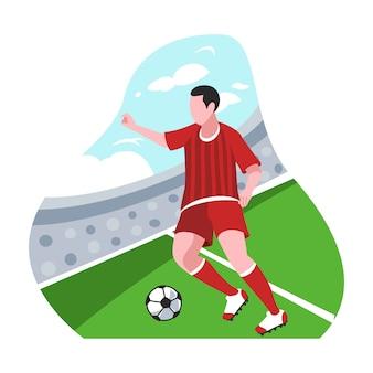 Illustrazione piana di progettazione del calciatore Vettore Premium