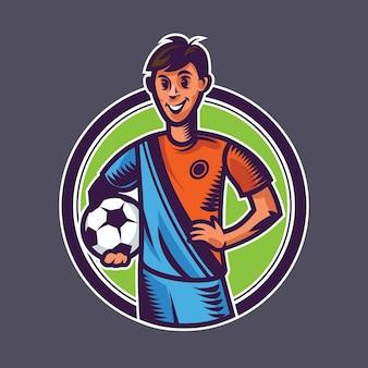 Sfera della holding del calciatore. concept art del calcio in stile cartone animato.