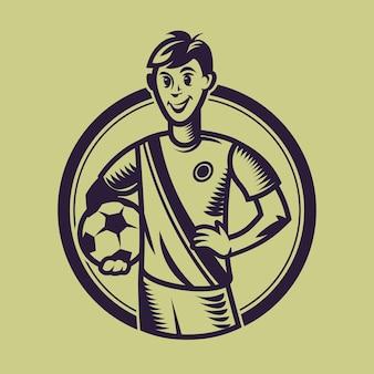 Sfera della holding del calciatore. concept art del calcio in stile monocromatico.