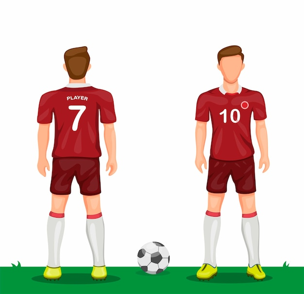 Giocatore di calcio in icona simbolo uniforme rossa impostata dal concetto di jersey di calcio sport vista frontale e posteriore nell'illustrazione del fumetto