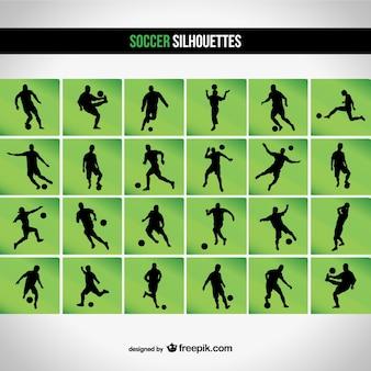 Set soccer silhouette